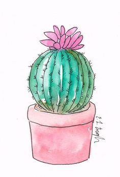 Precious Tips for Outdoor Gardens - Modern Cactus Drawing, Cactus Painting, Watercolor Cactus, Watercolour Painting, Deer Drawing, Paintings Tumblr, Mini Paintings, Cactus Decor, Cactus Art