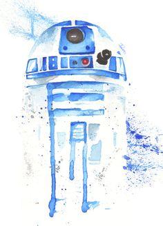 R2D2 droid Watercolor art Print  Star Wars Decor paint