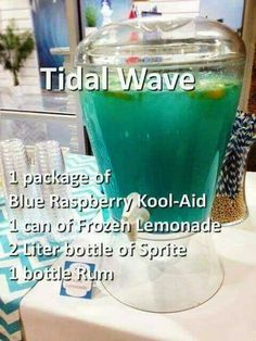 Tital Wave Punch Blue Raspberry Kool-Aid 1 Can Frozen Lemonade 2 Liter bottle of Sprite. Minus the alcohol Liquor Drinks, Cocktail Drinks, Bacardi Drinks, Blue Alcoholic Drinks, Summer Alcoholic Punch, Alcoholic Drinks Recipes With Vodka, Summer Rum Drinks, Summer Mixed Drinks, Summer Shots