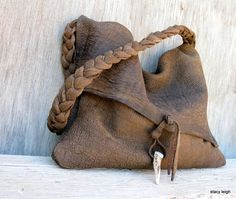 RESERVED for DeAnne Rustic Chocolate Brown Leather by stacyleigh
