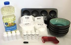 Materials for doing the bath bomb activity.
