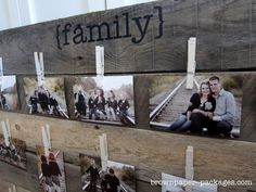 Turn a wood pallet into a darling photo display with just a few supplies, and enjoy all of your favorite photos in one space!