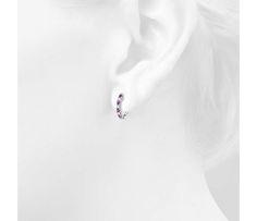 Petite Pink Sapphire and Diamond Pavé Huggie Hoop Earring in 14k White Gold (1.9mm)
