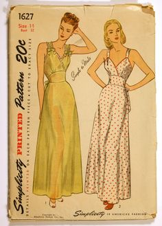 1940s Empire Waist Nightgown - Simplicity pattern