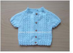 chaquetas abiertas, ropa bebé, manga corta, dos agujas, hecho a mano, ropa bebé