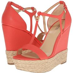 MICHAEL Michael Kors Kerri Wedge Women's Wedge Shoes ($150) ❤ liked on Polyvore featuring shoes, sandals, wedges shoes, adjustable strap sandals, strappy platform sandals, strappy sandals and platform sandals