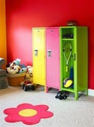 Colorful lockers to help keep your tween organized this school year - perfect for storing sports gear!