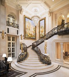 ideas for stairs design ideas awesome stairways staircases Luxury Home Decor, Luxury Interior, Home Interior Design, Interior Architecture, Luxury Homes, Luxury Mansions, Classical Architecture, Grand Staircase, Staircase Design