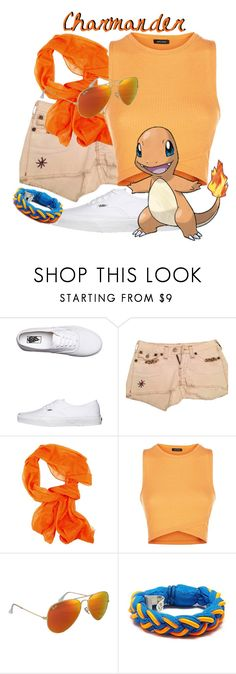 """""""Charmander!"""" by freezespell ❤ liked on Polyvore featuring Vans, True Religion, Ray-Ban, Roarke, games, Pokemon, Charmander and nintendo"""