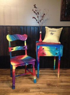 Tie Dye Wood Table & Chair by MyHeavenlyHome on Etsy Bright Painted Furniture, Hand Painted Furniture, Funky Furniture, Paint Furniture, Repurposed Furniture, Furniture Makeover, Furniture Decor, Refurbished Furniture, Wood Table