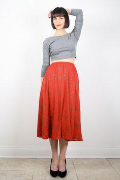 Vintage Red Skirt Midi Skirt 1980s 80s Skirt by ShopTwitchVintage