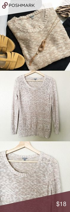 """Light Pink Knit Marled Sweater The threads are white and mauve, so it gives the sweater an overall light pink look. Cozy long sleeved with a slight scoop neck. Could be cute with a collared shirt underneath. I wore it simply with a tank top and jeans. Approximately 18.5"""" from armpit to armpit. 25"""" from top of shoulder to hem. In good condition. Charlotte Russe Sweaters Crew & Scoop Necks"""
