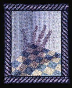 Elizabeth Tuttle, Me No. 3; Crocheted cotton sewing thread, 12x9 inches. 1980 to 1983 #crochet #art #fineart #fiberart #fibreart #textile #textileart #domesticlife #domesticart #conceptualart #design #stairs #opticalillusion #artist #selfie #selfportrait Conceptual Art, Optical Illusions, Textile Art, Fiber Art, Pattern Design, Textiles, Quilts, Blanket, Sewing
