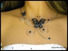 Collier,ras du cou,papillon,noir,fil aluminium,métal,argent,arabesque mariage,mariée,soirée neuf