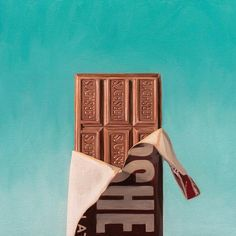This original oil painting features a freshly unwrapped chocolate candy bar on a dramatic turquoise background. Hersheys, Hershey Chocolate Bar, Hershey Bar, Chocolate Cream Cheese, Chocolate Peanuts, Chocolate Lovers, Candy Photography, Food Photography Styling, Hershey Syrup