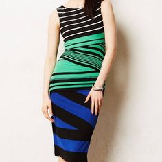 FINAL SALEAnthropologie Bailey 44 Dress Sleeveless dress, sleek fit with multi-directional stripes and carefully cut layers of fabric. Black, white, blue, and green. Size S. New with tags. Anthropologie Dresses
