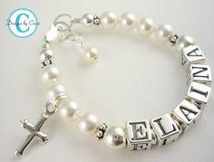 Baptism Bracelet Baby Girl Bracelet Name Sterling Pearl Swarovski Crystal Name Charm Custom Bracelet via Etsy