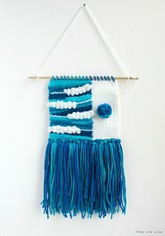 Small Handmade Weaving Blue Turquoise White by TheyComeAlong