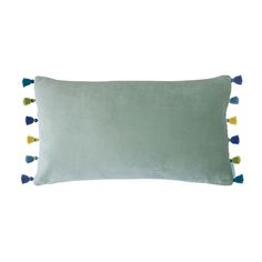 Add sumptuous texture to your interior space with this Peppermint Velvet cushion from Bluebellgray. In a stylish pastel peppermint green hue, this cushion is crafted from a cotton/viscose blend which