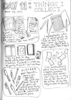 Tomorrow I start posting a new series of drawings: 30 Days of Lists… Drawn. Yes, yes, I still have the incomplete / ongoing 30 Day Drawing C. Bullet Journal Astuces, Bullet Journal Art, Bullet Journals, Art Journal Prompts, Art Journal Pages, Art Journals, Journal Ideas, Sketchbook Prompts, Smash Book