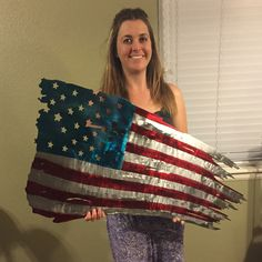 Sending out two of these tattered America flags today! First time shipping one this big! Metal American Flag, American Flag Wall Art, Metal Flag, Wood Flag, Metal Projects, Welding Projects, Plasma Cutter Art, Picture Banner, Wooden Art