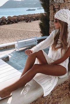 Bikinis, Swimwear, White Shorts, Summer, Women, Fashion, Bathing Suits, Moda, Swimsuits