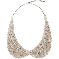 Pretty pink peter pan necklace ($12) ❤ liked on Polyvore featuring jewelry, necklaces, accessories, pink, collar, beading jewelry, peter pan necklace, beaded peter pan collar necklace, beads jewellery and sparkle jewelry