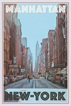 Vintage poster of Manhattan New-York - Buy a poster online - all the world's most amazing places - retro poster - custom poster - worldwide shipping - affiche vintage - affiche retro Foto Poster, Poster S, Poster Prints, Tourism Poster, Poster Ideas, Poster Wall, Travel Aesthetic, Aesthetic Art, Aesthetic Pictures