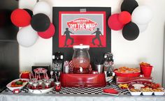Charlene created this amazing Skater Boy party for her son Christian. She used a red and black theme and really went all out!! Fun use of c...