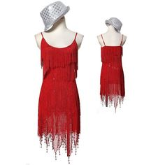 Hot Women Red Spaghetti Roaring 20s Style Flapper Cocktail Party Dress SKU-401255