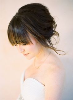 Wedding hair with bangs. Maybe? But maybe too simple?