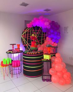 The Glow Up, Neon Party, 14th Birthday, Party Planning, Birthdays, Best Party Themes, Birthday Balloon Decorations, Balloon Decorations Party, Retro Party