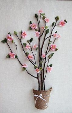 A Tree with Flowers: Painting DIY – a free tutorial on the topic: Ribbon Embroidery ✓DIY ✓Steps-By-Step ✓With photos Twig Crafts, Flower Crafts, Paper Crafts, Diy Crafts Hacks, Diy Home Crafts, Paper Flowers Diy, Fabric Flowers, Tree Branch Decor, Flowering Trees