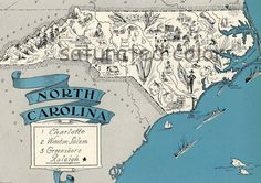 North Carolina  Vintage Maps   1930s Picture Map by SaturatedColor, $39.00
