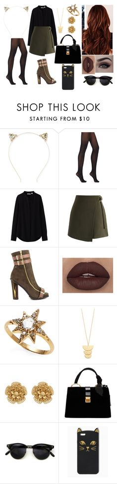 """""""Untitled #72"""" by rugiledamaseviciute on Polyvore featuring beauty, Aéropostale, Wolford, Uniqlo, Chicwish, Luichiny, Anzie, Gorjana, Miriam Haskell and Miu Miu"""