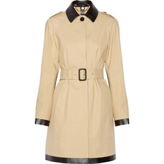 Burberry London Faux leather-trimmed cotton-gabardine coat (€850) ❤ liked on Polyvore featuring outerwear, coats, coats & jackets, jackets, burberry, sand, cotton coat, gabardine coat, petite coats and burberry coat