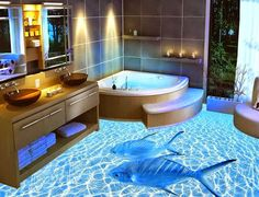 A complete guide to flooring installation, bathroom floor murals and designs, epoxy flooring prices and tricks from experts, floor art applying in the bathroom flooring Ocean Bathroom, Beach Theme Bathroom, Bathroom Wall, Bathroom Interior, Bathroom Cabinets, Bathroom Tiling, Glass Bathroom, Bathroom Renovations, Bathroom Storage