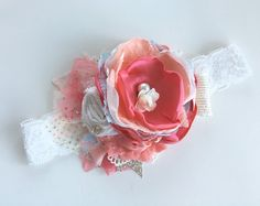 Coral Special-  Baby Girl Headband- Baby Headbands-  flower Headband- Boho Headband-Newborn Headband