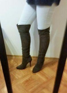 Kup mój przedmiot na #vintedpl http://www.vinted.pl/damskie-obuwie/kozaki/11003841-szare-kozaki-zamsz-za-kolano-38-must-have