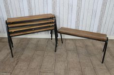 STACKING BENCHES VINTAGE STACKABLE SHEPHERDS BENCHES RETRO INDUSTRIAL. Peppermil Antiques £80 each