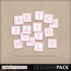 Baby Block Alphabet - Pink #digital #scrapbook