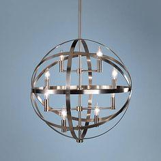 "Robert Abbey Lucy 22"" Wide 8-Light Antique Nickel Pendant - #W0081   Lamps Plus"