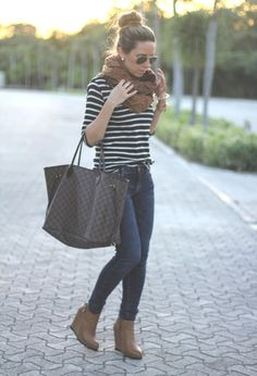 striped shirt, scarf, skinnies, tote, short heel boots