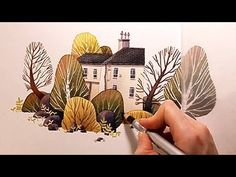 "Watercolor Illustration ""House with garden"" with colored pencils speed painting by Iraville - YouTube"