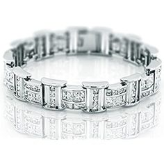 "Men's Sterling Silver .925 Bracelet with 106 Channel set Fancy Princess shaped Cubic Zirconia (CZ) Stones, Box Lock, Platinum Plated. Sizes available 8""9"""