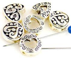 6 heart design hole slider beads 11113