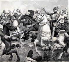 King Arthur Leading the Charge by Jack Keay.  Watercolour on Board, Size: 10 x 9 (260mm x 230mm). 1975