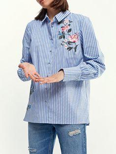 Shop Shirts & Blouses - Blue Floral Long Sleeve Cotton Embroidered Shirts & Blouse online. Discover unique designers fashion at JustFashionNow.com.