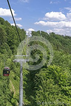Landscapes from Jaworzyna Krynicka Mountains in Poland in the summer. And cable car.
