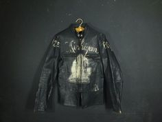 Vintage Buco J-100 Leather Jacket Michigan front Amazing original paint job still visible(sb)